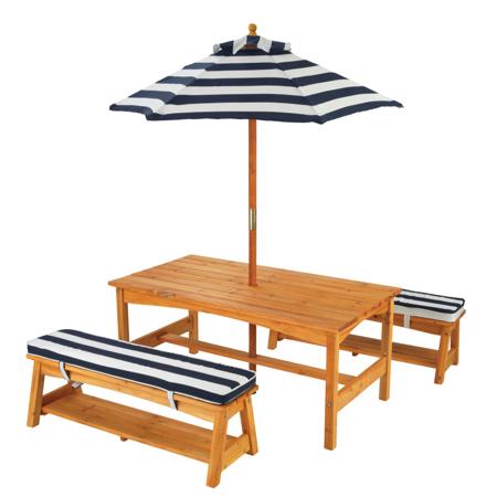 Immagine di KidKraft® Set tavolo e panchine con cuscini e ombrellone Blue/White