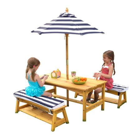 KidKraft® Set tavolo e panchine con cuscini e ombrellone Blue/White