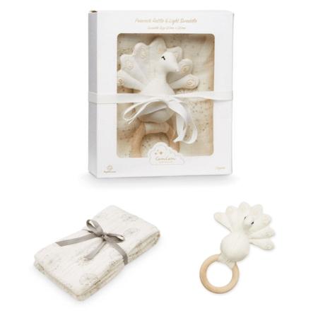 CamCam® Set regalo Sonaglio pavone  e pannolino tetra Dandelion Natural