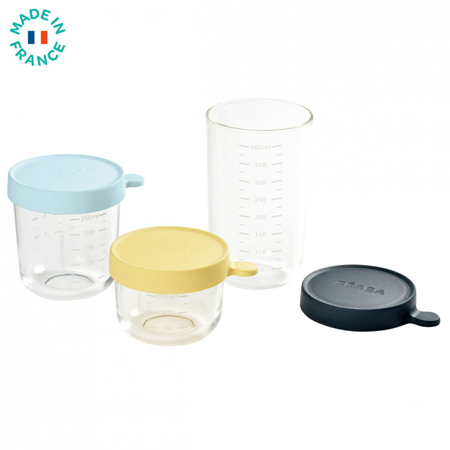 Immagine di Beaba® Set di 3 contenitori in vetro 150ml Yellow/250ml Light Blue/400ml Dark Blue