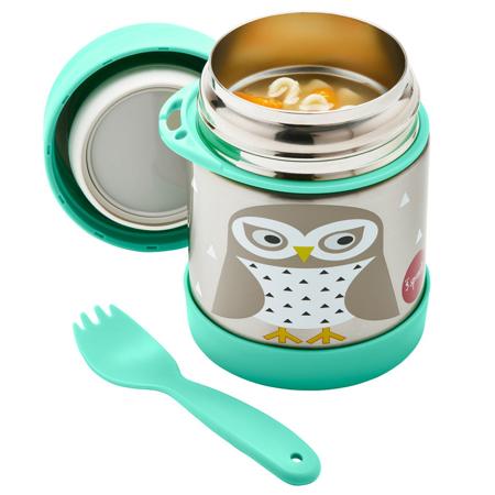 3Sprouts® Contenitore thermos cucchiaio/forchetta Gufo