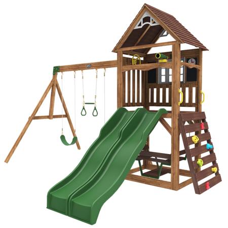 Immagine di KidKraft®Altalena in legno con doppio scivolo Lindale