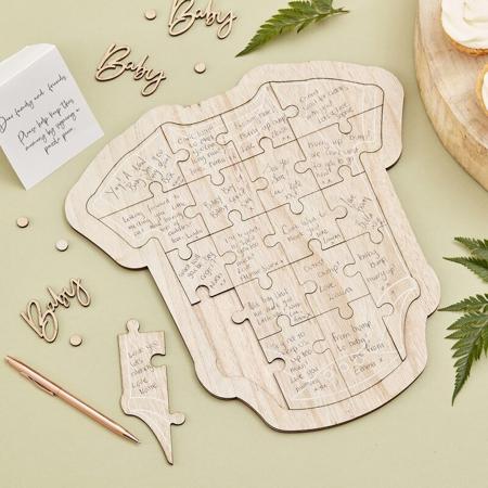 Immagine di Ginger Ray® Puzzle in legno per ospiti Baby