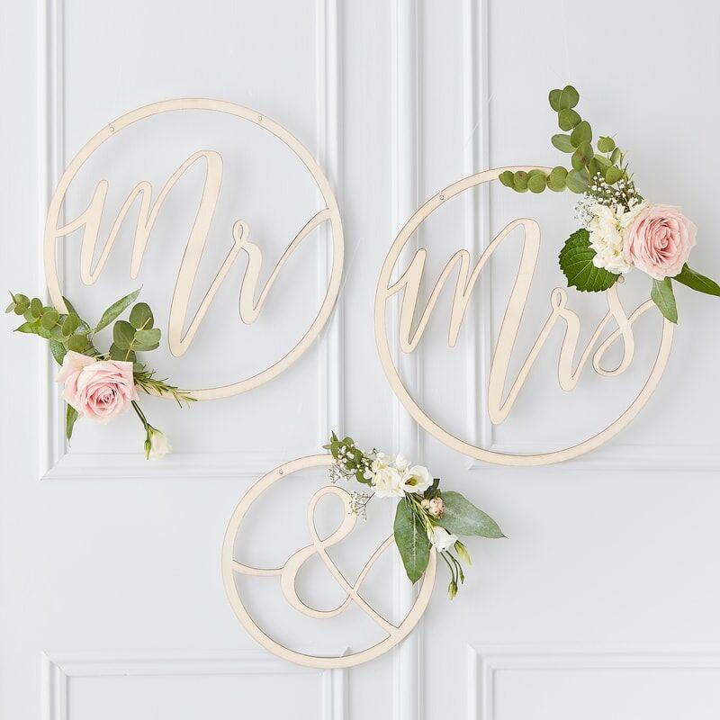 Immagine di Ginger Ray® Cerchi in legno Mr & Mrs