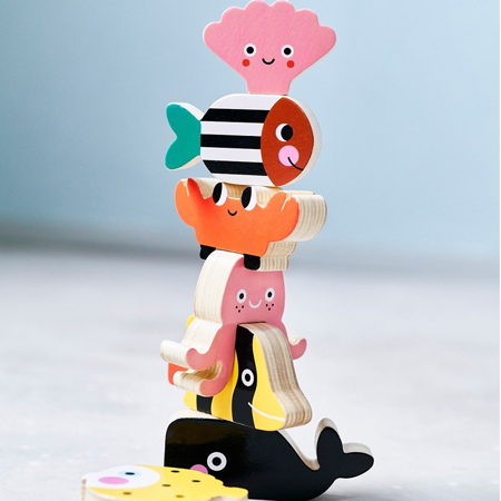 Immagine di Petit Monkey® Figurine in legno di impilamento Ocean