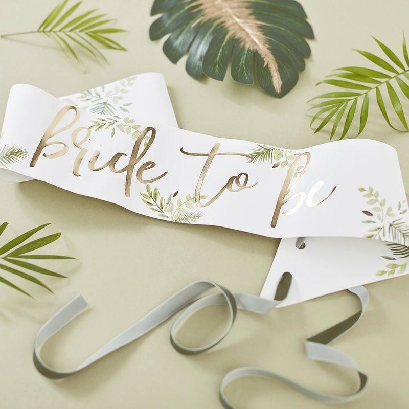 Immagine di Ginger Ray®  Cintura nastro Bride To Be Botanical