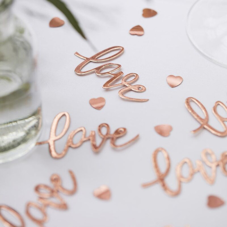 Immagine di Ginger Ray® Coriandoli decorativi da tavola Rose Gold Love Hearts