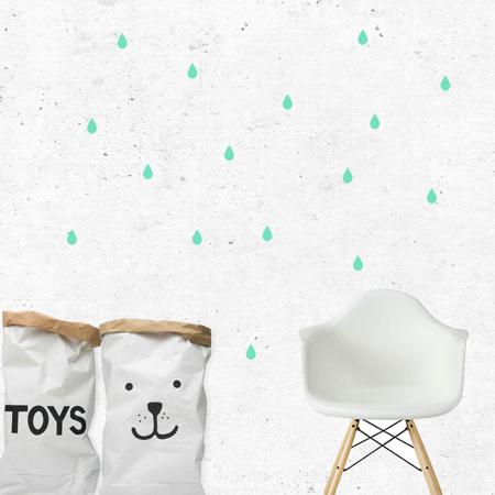 Immagine di Pick Art Design® Adesivo da parete Gocce di pioggia Mint