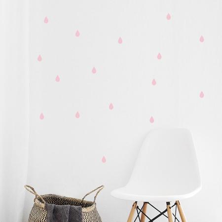 Immagine di Pick Art Design® Adesivo da parete Gocce di pioggia Rosa Pastello