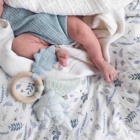 Immagine di CamCam® Biancheria da letto Pressed Leaves Blue Junior 100x140, 45x40