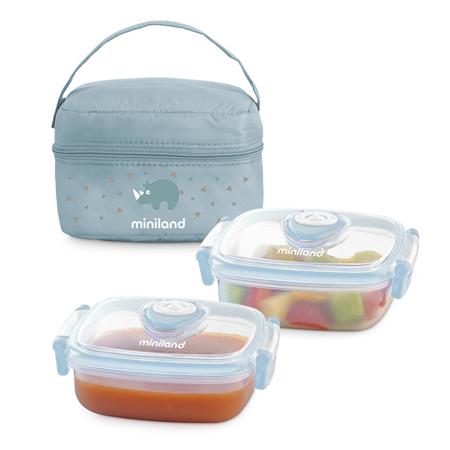Immagine di Miniland® Set 2 contenitori con borsa thermos 330ml Azure