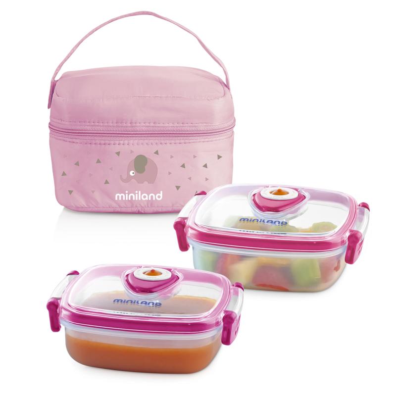 Immagine di Miniland® Set 2 contenitori con borsa thermos 330ml Rosa