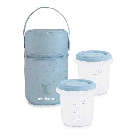 Immagine di Miniland® Set 2 contenitori con borsa thermos 250ml Azure