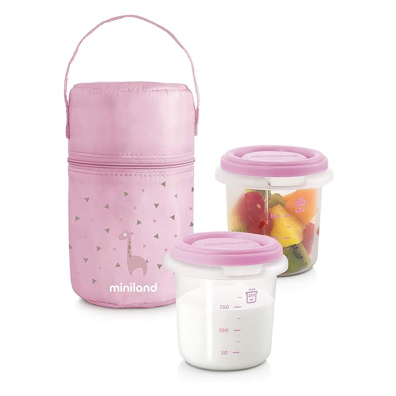 Immagine di Miniland® Set 2 contenitori con borsa thermos 250ml Rosa