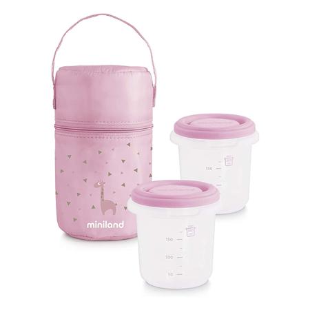 Miniland® Set 2 contenitori con borsa thermos 250ml Rosa