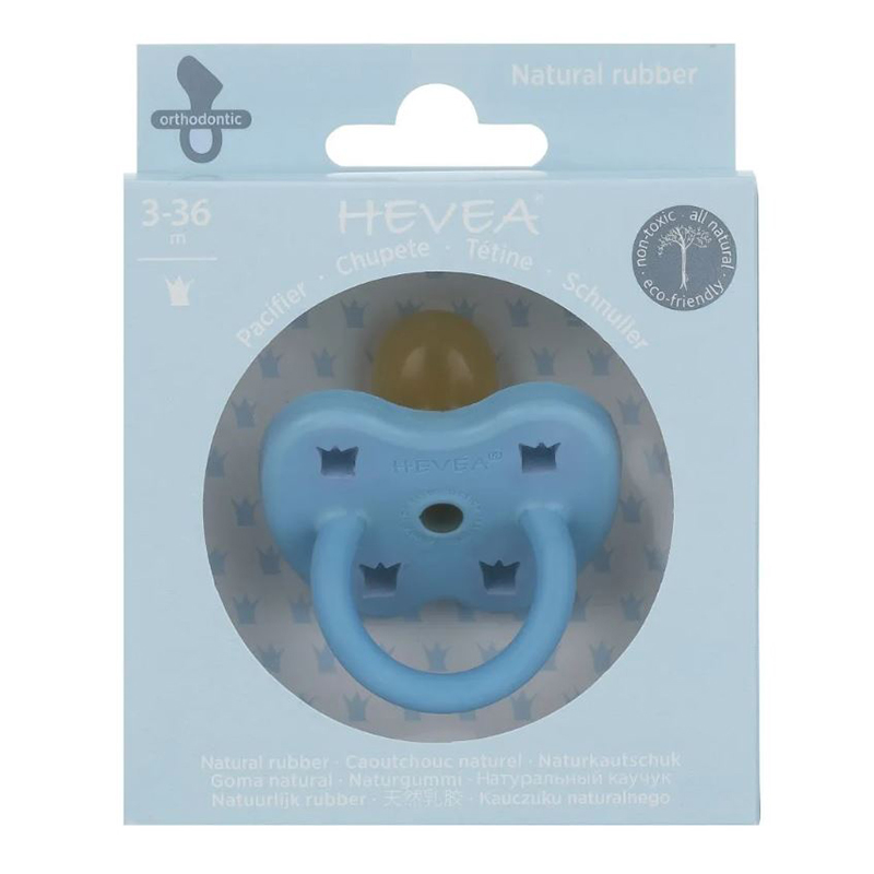Immagine di Hevea® Ciuccio ortodontico in caucciù Colourful  (3-36m) Sky Blue