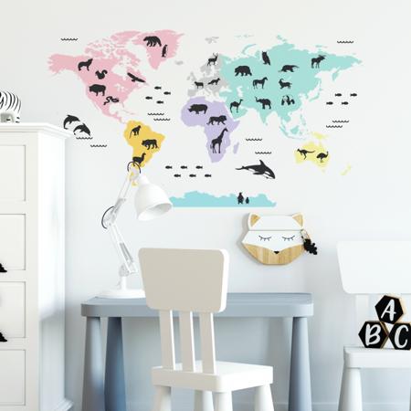 Immagine di Yokodesign®  Adesivo da parete Mappa del mondo Pastel 150x84