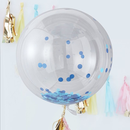 Immagine di Ginger Ray® Palloncini Large con coriandoli Blue 3 pz.
