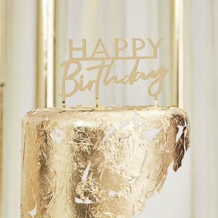 Immagine di Ginger Ray® Decorazione torta Gold Happy Birthday