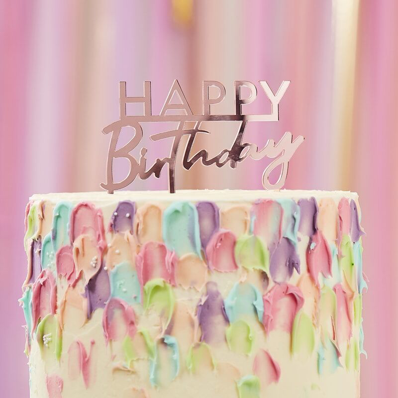 Immagine di Ginger Ray® Decorazione torta Pink Happy Birthday