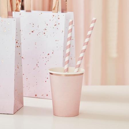 Immagine di Ginger Ray®  Cannucce di carta Pink Stripe 20 pezzi