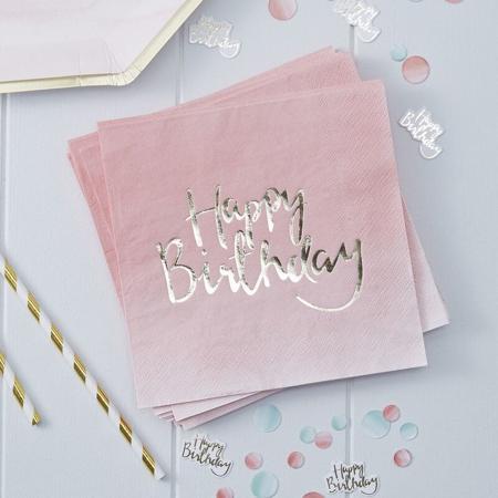 Immagine di Ginger Ray® Tovaglioli di carta Pink Ombre Happy Birthday 20 pezzi
