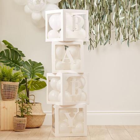 Immagine di Ginger Ray® Scatole trasparenti decorative con palloncini Baby