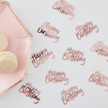 Immagine di Ginger Ray® Coriandoli decorativi da tavolo Rose Gold Happy Birthday