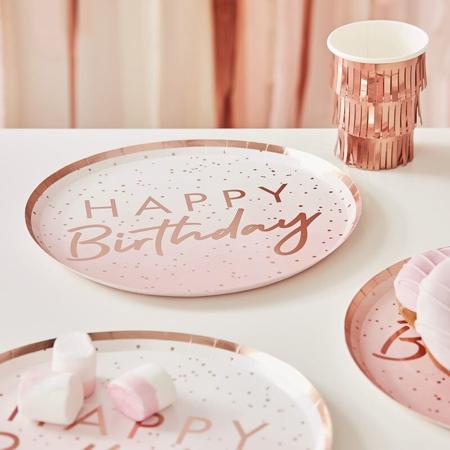 Immagine di Ginger Ray®  Piatti Rose Gold Happy Birthday 8 pezzi