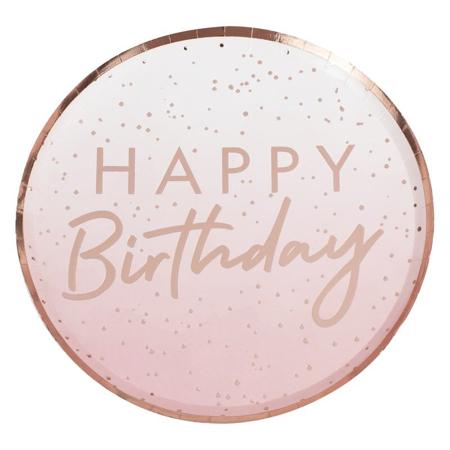 Ginger Ray®  Piatti Rose Gold Happy Birthday 8 pezzi
