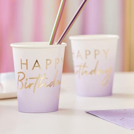 Immagine di Ginger Ray® Bicchieri di carta Happy Birthday Ombre Gold 8 pezzi