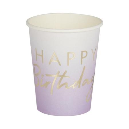 Ginger Ray® Bicchieri di carta Happy Birthday Ombre Gold 8 pezzi