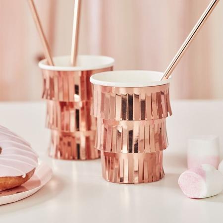Immagine di Ginger Ray® Bicchieri di carta Fringe Rose Gold 8 pezzi