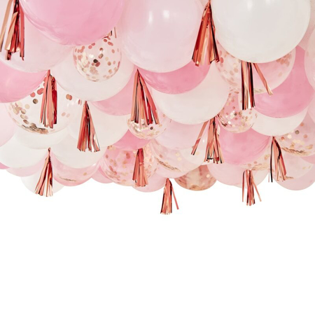 Ginger Ray® Palloncini con nappine Blush White & Rose Gold
