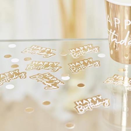 Immagine di Ginger Ray® Coriandoli decorativi da tavolo Gold Happy Birthday