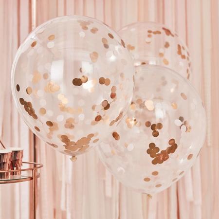 Immagine di Ginger Ray® Grandi palloncini con coriandoli Rose Gold 3 pezzi