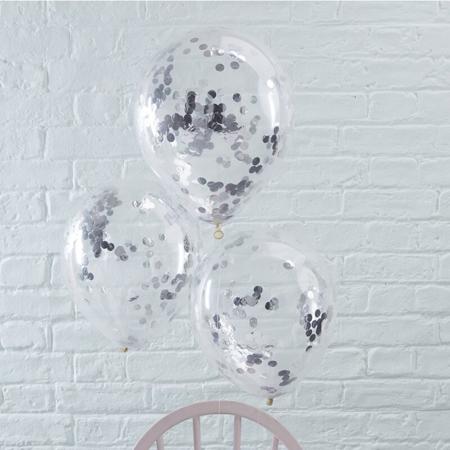 Immagine di Ginger Ray® Palloncini con coriandoli Silver 5 pezzi