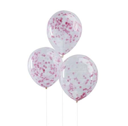 Ginger Ray® Palloncini con coriandoli Pink 5 pezzi