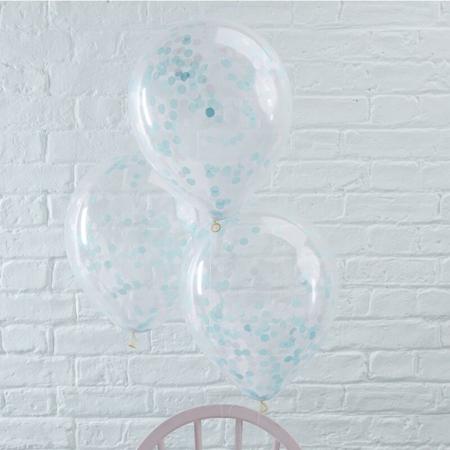 Immagine di Ginger Ray® Palloncini con coriandoli Blue 5 pezzi