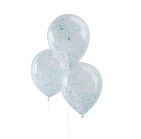 Ginger Ray® Palloncini con coriandoli Blue 5 pezzi