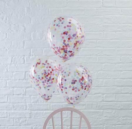 Immagine di Ginger Ray® Palloncini con coriandoli Multicoloured 5 pezzi