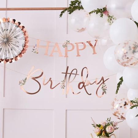 Immagine di Ginger Ray®  Iscrizione appesa Happy Birthday Floral Rose Gold