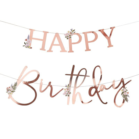 Ginger Ray®  Iscrizione appesa Happy Birthday Floral Rose Gold
