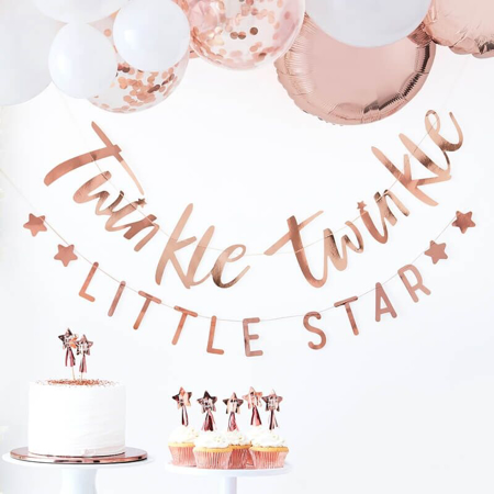Immagine di Ginger Ray®  Iscrizione appesa Twinkle Twinkle Rose Gold