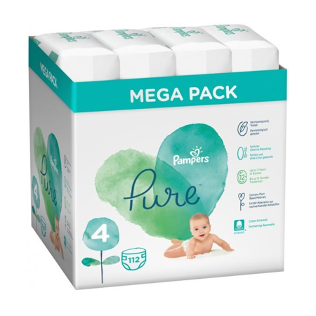 Immagine di Pampers® Pannolini Pampers Pure Protection Megataglia 4 (9-14 kg) 4x28 pezzi
