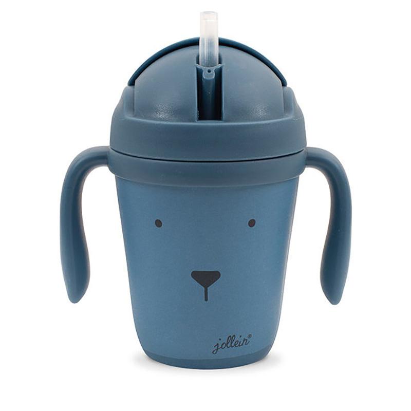 Immagine di Jollein® Borraccia con cannuccia in bambù Animal Club Steel Blue