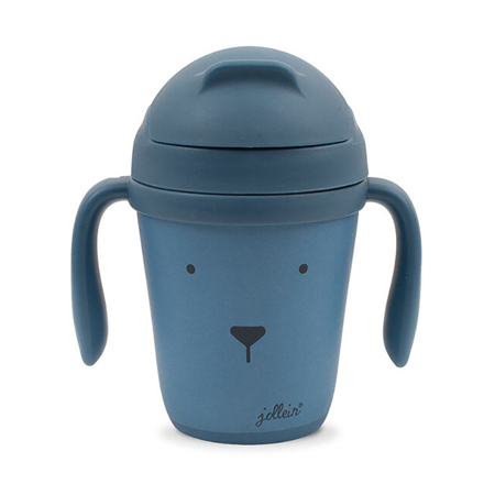 Immagine di Jollein® Borraccia con cannuccia in bambù Animal Club Steel Blue