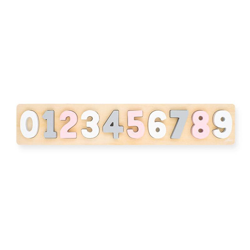 Immagine di Jollein® Puzzle numeri di legno Pink/White