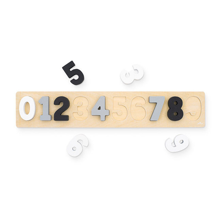 Immagine di Jollein® Puzzle numeri di legno Grey/White