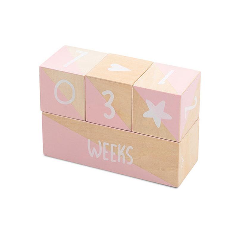 Immagine di Jollein® Milstone blocchi di legno Pink/White